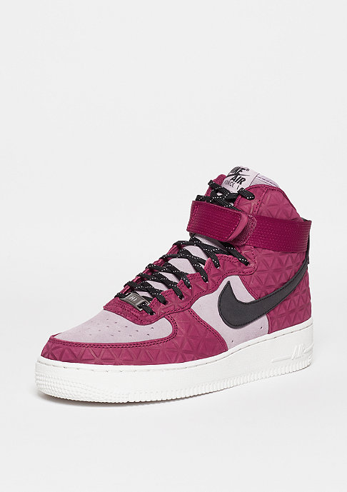 NIKE Schuh Wmns Air Force 1 Hi PRM Suede noble red/black/plum fog