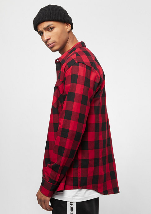 Urban Classics Checked Flanell Shirt black/red