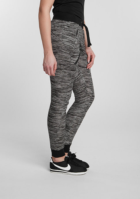 Urban Classics Trainingshose Fitted Melange Zip black/grey
