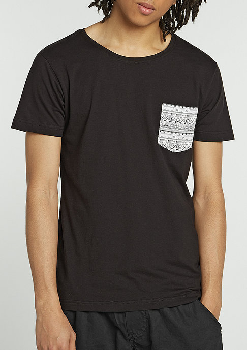 Urban Classics T-Shirt Contrast Pocket black/aztec