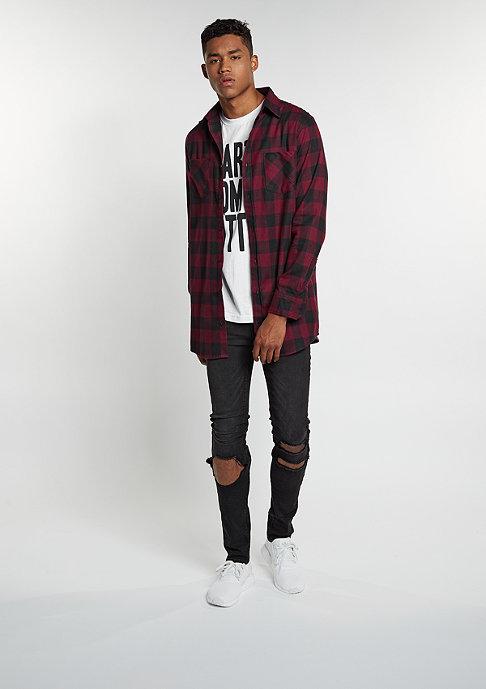 Urban Classics Hemd Long Checked Flanell black/burgundy
