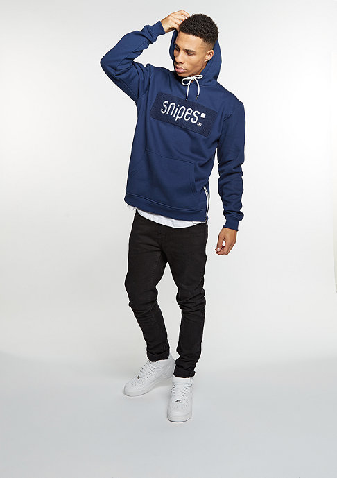 SNIPES Hooded-Sweatshirt Chenille Logo navy/off white