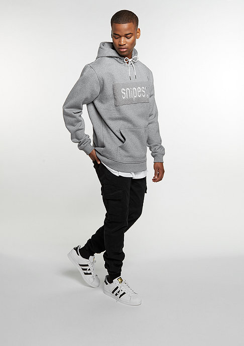 SNIPES Hooded-Sweatshirt Chenille Logo heather grey/off white