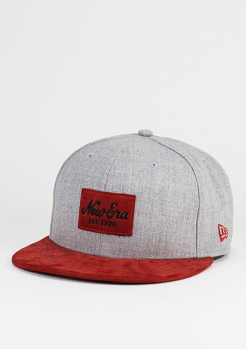 New Era Fitted-Cap Suede Patch 59Fifty grey/scarlet