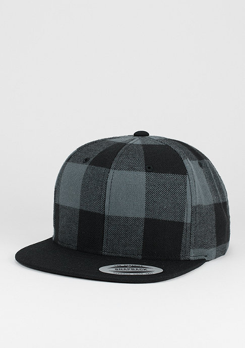 Flexfit Snapback-Cap Checked Flanell black/charcoal