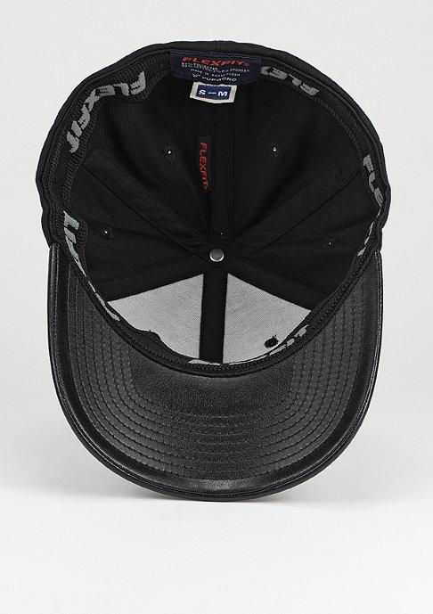 Flexfit Baseball-Cap Leather Imitation Peak black