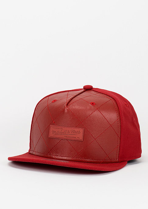 Mitchell & Ness Snapback-Cap Quilted Leather red