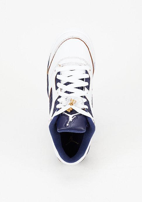 JORDAN Basketbalschoen Air Jordan 5 Retro Low white/metallic gold/mid navy