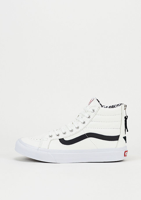 VANS Skateschuh Sk8-Hi Slim Zip Leather true white/leo