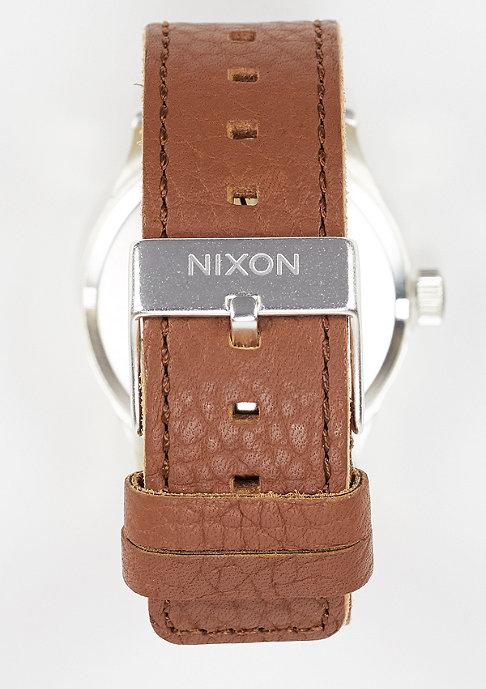 Nixon Horloge Sentry Leather black/saddle