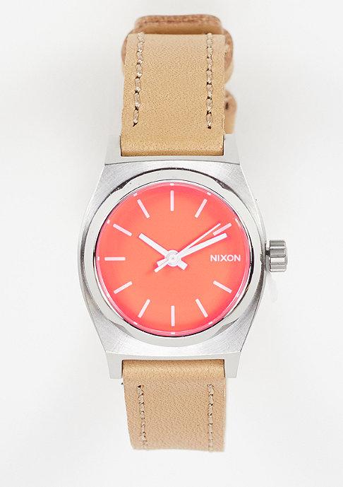 Nixon Horloge Small Time Teller Leather bright coral/natural