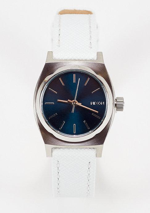 Nixon Horloge Small Time Teller Leather navy/white