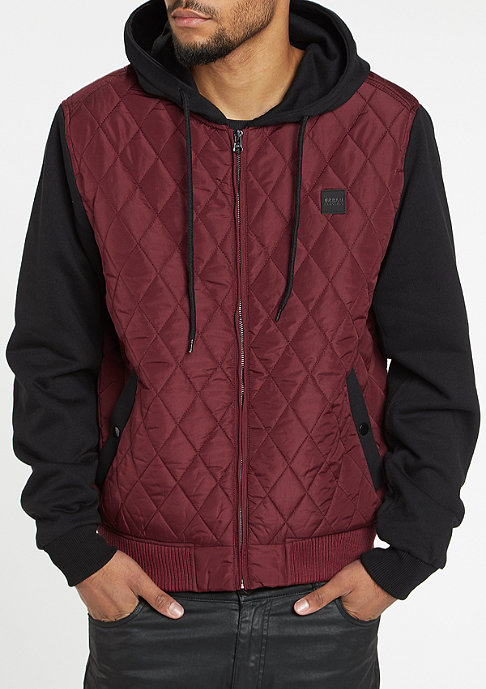 Urban Classics Hooded Diamond Quilt Nylon burgundy/black