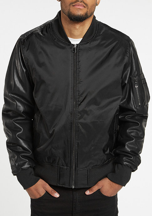 Urban Classics Basic Bomber Leather Imitation black/black