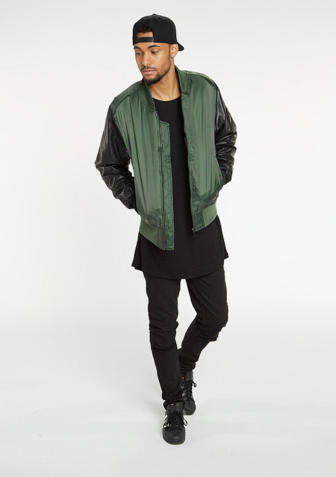 Urban Classics Jacke Basic Bomber Leather Imitation olive/black