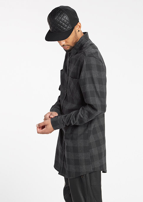 Urban Classics Long Checked Flanell black/charcoal