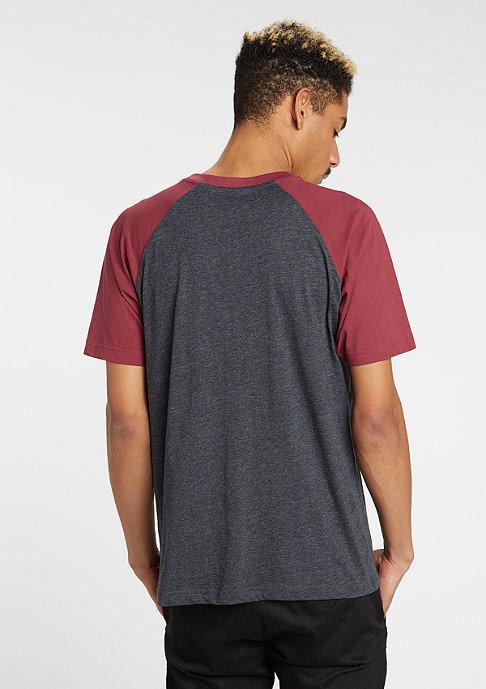 Urban Classics T-Shirt Raglan Contrast charcoal/burgundy
