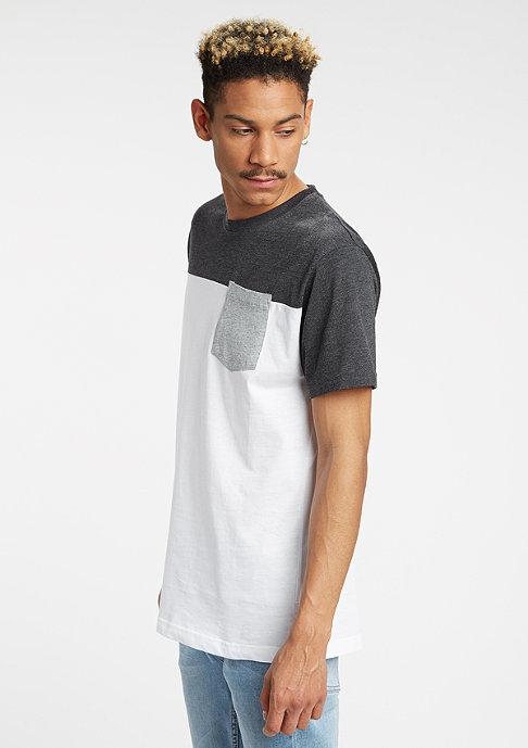 Urban Classics T-Shirt 3-Tone Pocket white/charcoal/grey