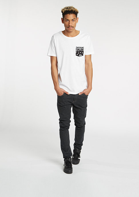 Urban Classics T-Shirt Contrast Pocket white/black bandana