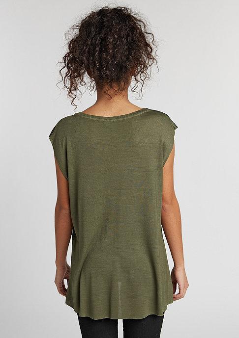 Urban Classics T-Shirt Shoulder Zip HiLo olive