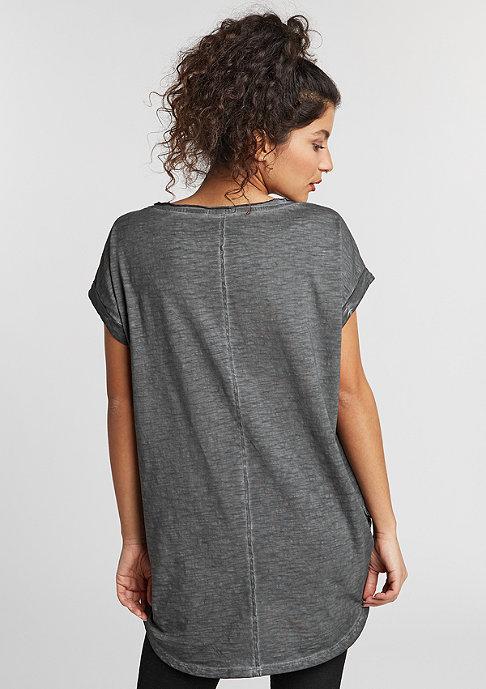 Urban Classics T-Shirt Long Back Shaped Spray Dye dark grey