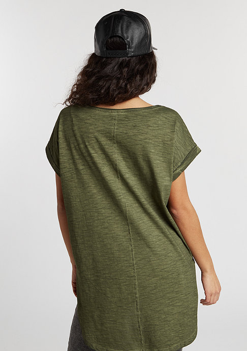 Urban Classics T-Shirt Long Back Shaped Spray Dye olive