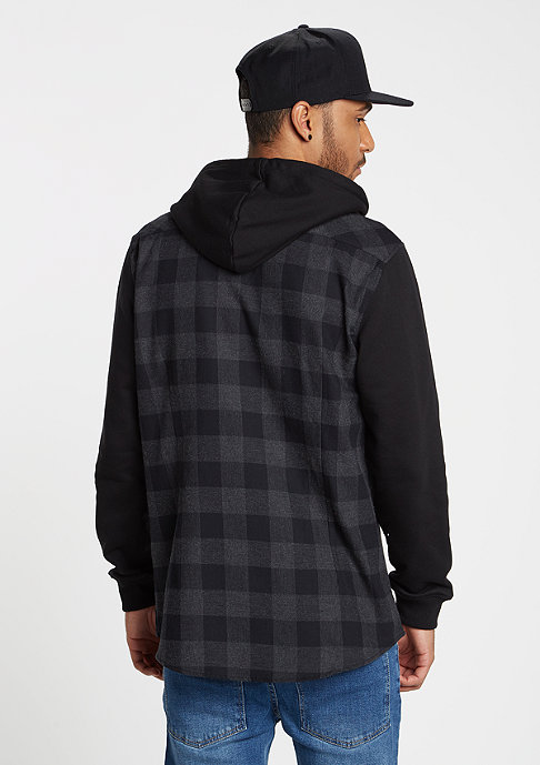 Urban Classics Hemd Hooded Checked Flanell black/charcoal
