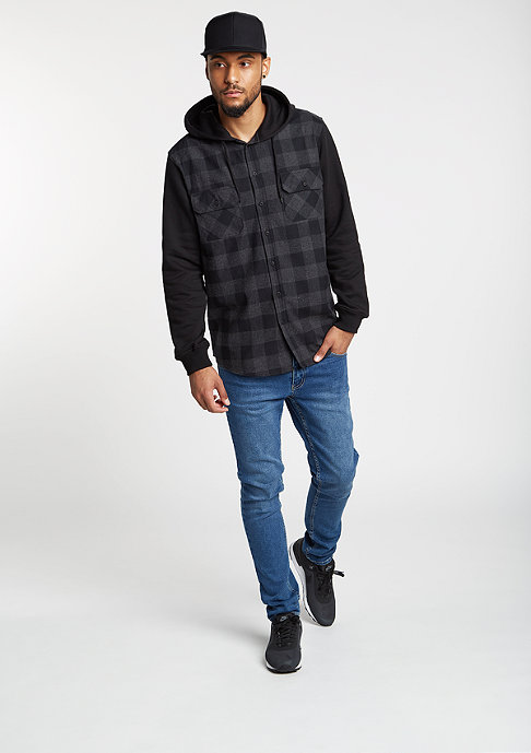 Urban Classics Overhemd Hooded Checked Flanell black/charcoal