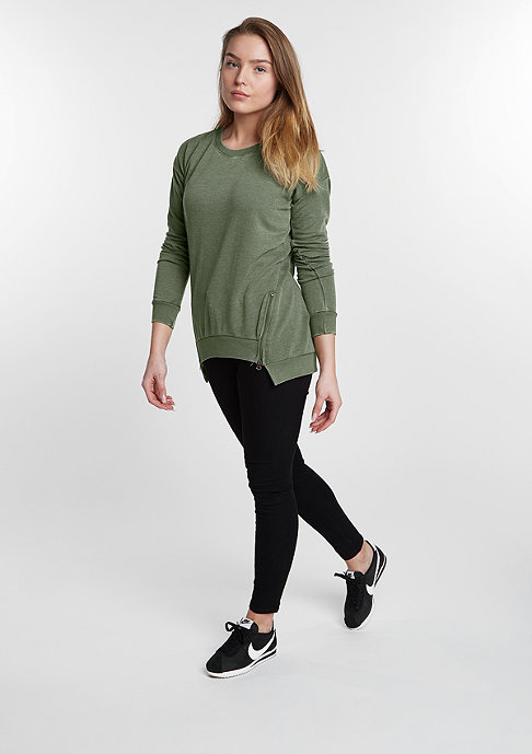 Urban Classics Sweatshirt Burnout Front Zip light olive