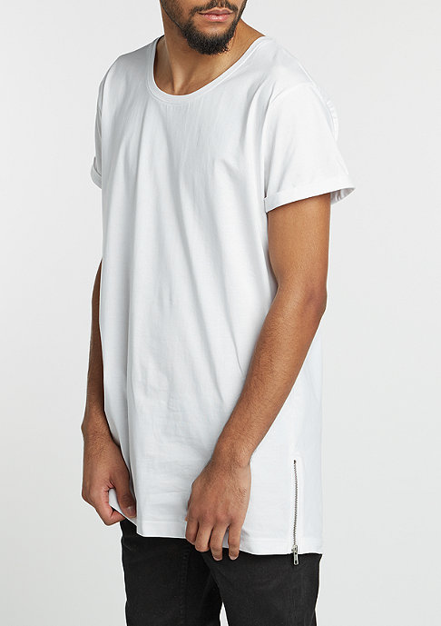 Urban Classics T-Shirt Long Shaped Side Zip white