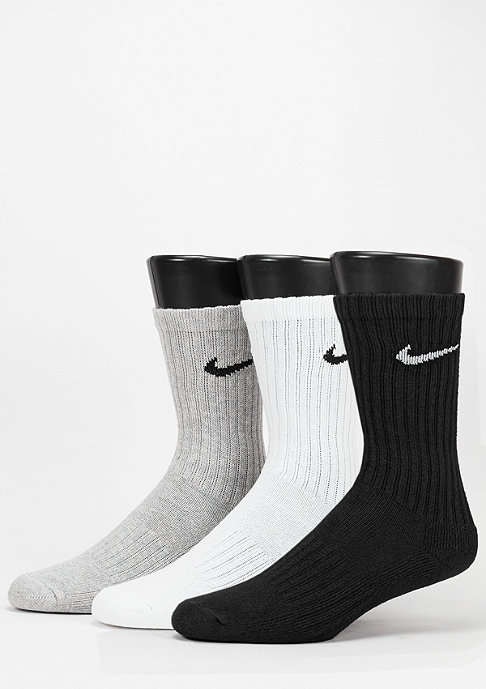 NIKE Sport-Socke Value Cotton Crew 3Pack grey heather/black/white