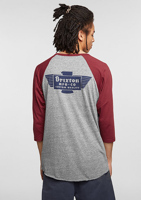 Brixton Longsleeve Cylinder heather grey/burgundy
