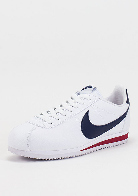 NIKE Laufschuh Classic Cortez Leather white/midnight navy/gym red