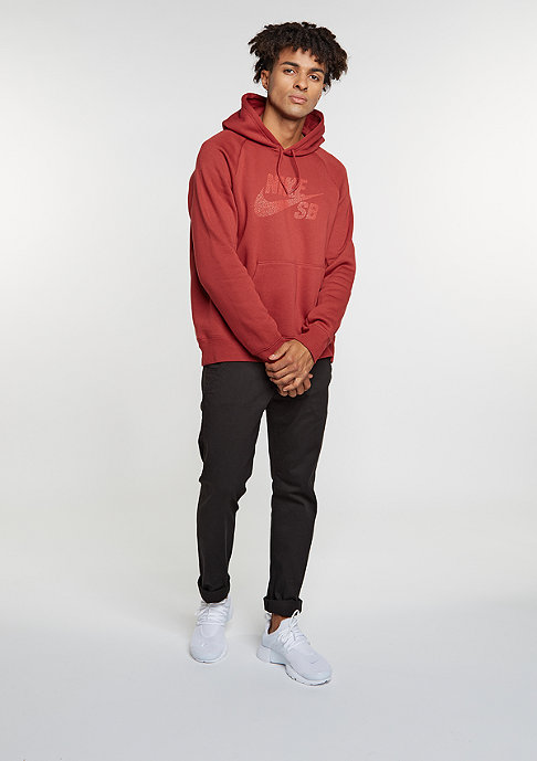 NIKE SB Hooded-Sweatshirt Icon Dots dark cayenne/light crimson