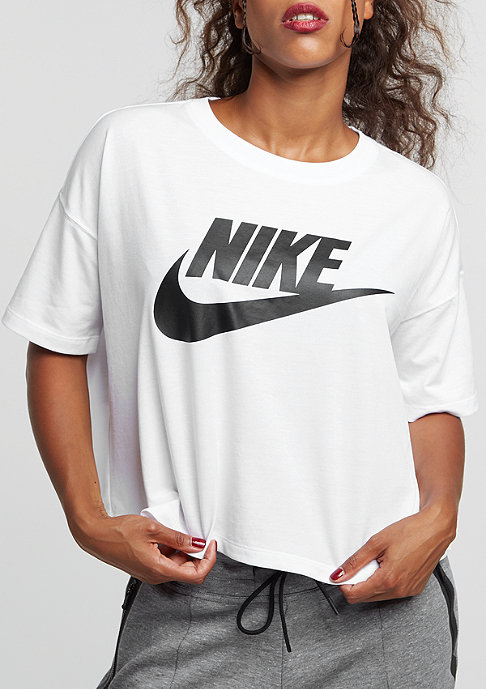 NIKE T-Shirt Signal Crop white/black