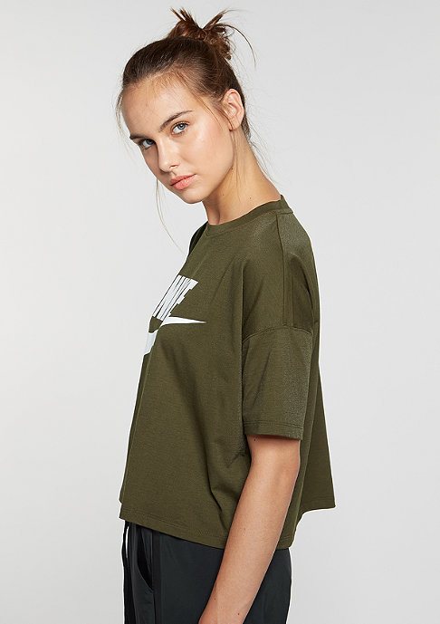 NIKE T-Shirt Signal Crop dark loden/white