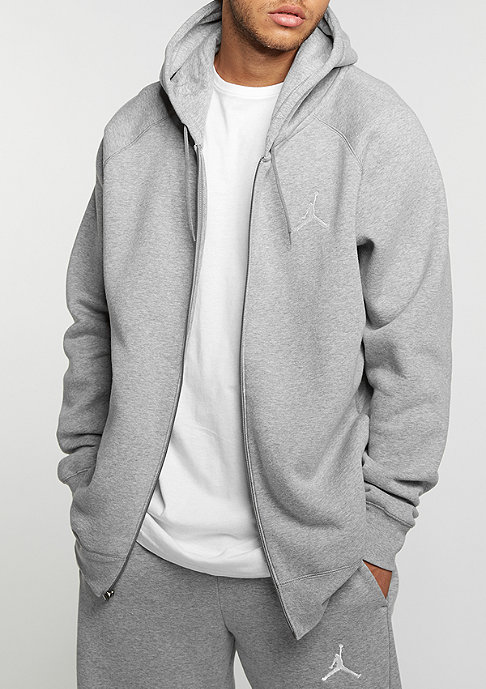 JORDAN Flight Fleece Full-Zip dark grey heather/white