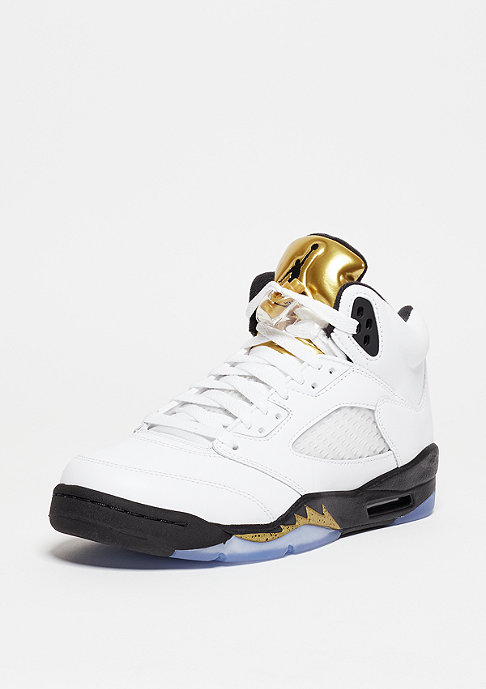 JORDAN Air Jordan 5 Retro white/black/metallic gold coin