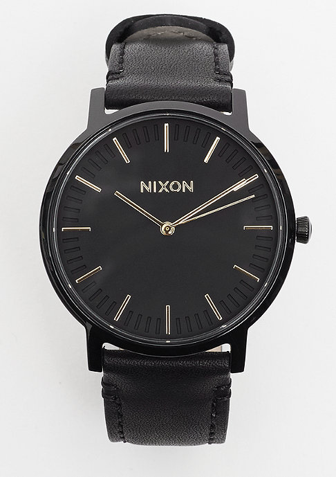 Nixon Porter Leather all black/gold