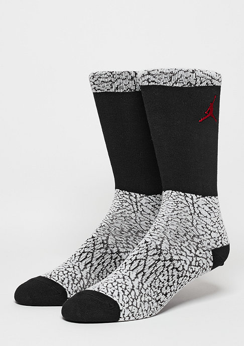 JORDAN Fashionsocke Ele Print Crew white/black/red