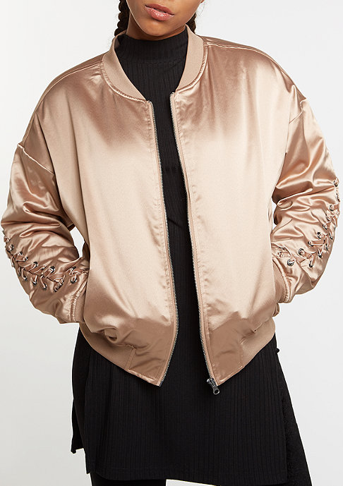 Flatbush Satin Blouson Lacing cafe