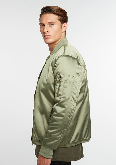 Future Past Jacke Satin Bomber light olive