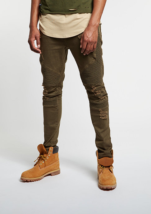 Cayler & Sons Jeans-Hose Biker Denim Pants distressed olive