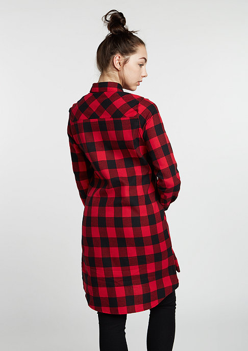 Urban Classics Hemd Checked Flanell Shirt Dress blk/red