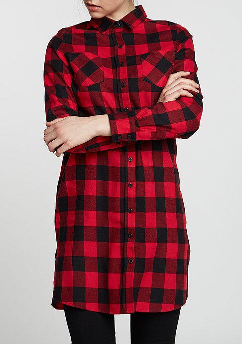 Urban Classics Overhemd Checked Flanell Shirt Dress blk/red