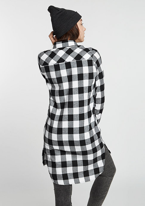 Urban Classics Overhemd Checked Flanell Shirt Dress blk/wht