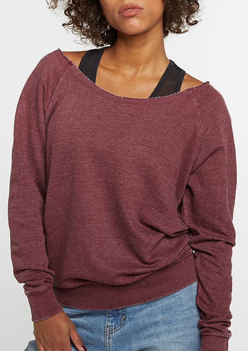 Urban Classics Sweatshirt Burnout Open Edge burgundy