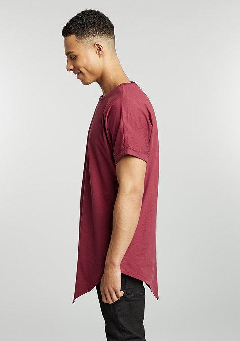 Urban Classics T-Shirt Asymetric Long burgundy