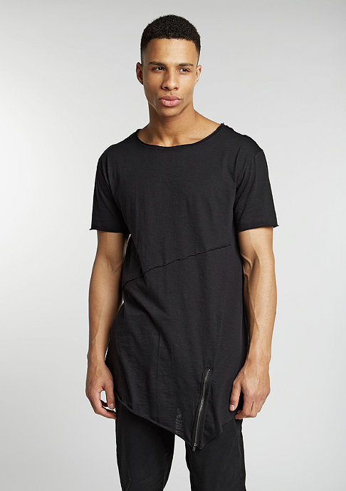 Urban Classics T-Shirt Long Open Front Zip black
