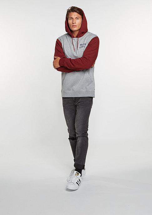 Brixton Hooded-Sweatshirt Woodburn Fleece heather grey/burgundy